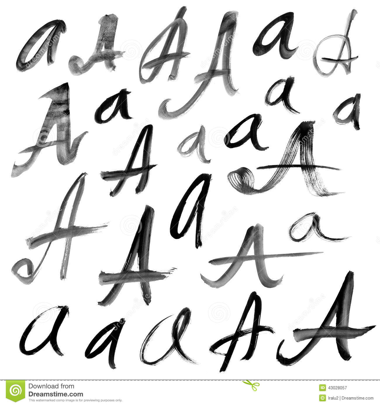 Letters Of The Alphabet Written With A Brus Stock