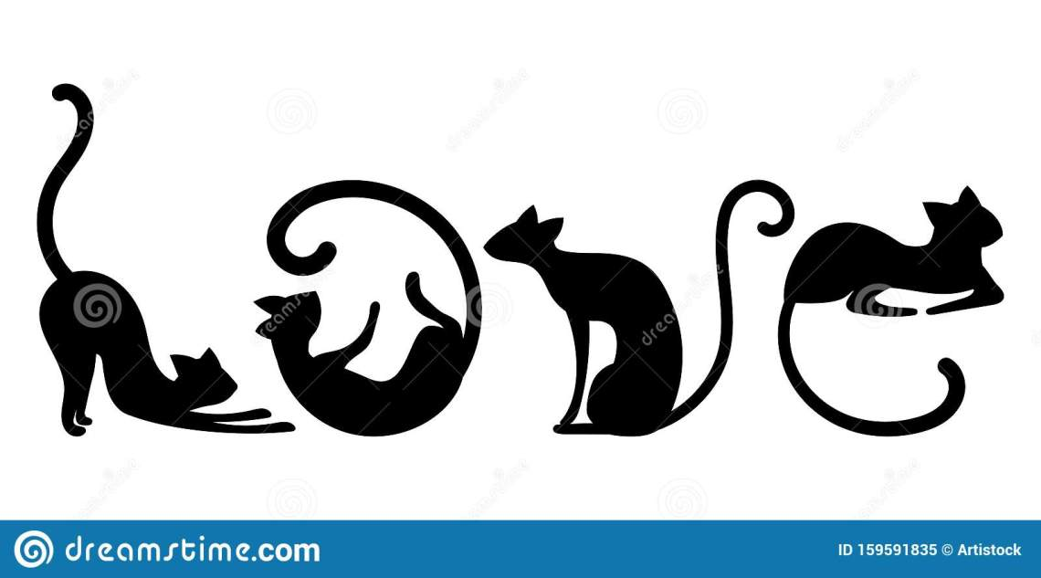 Download Letters From Black Cats. Vector Illustration Of Cats In ...