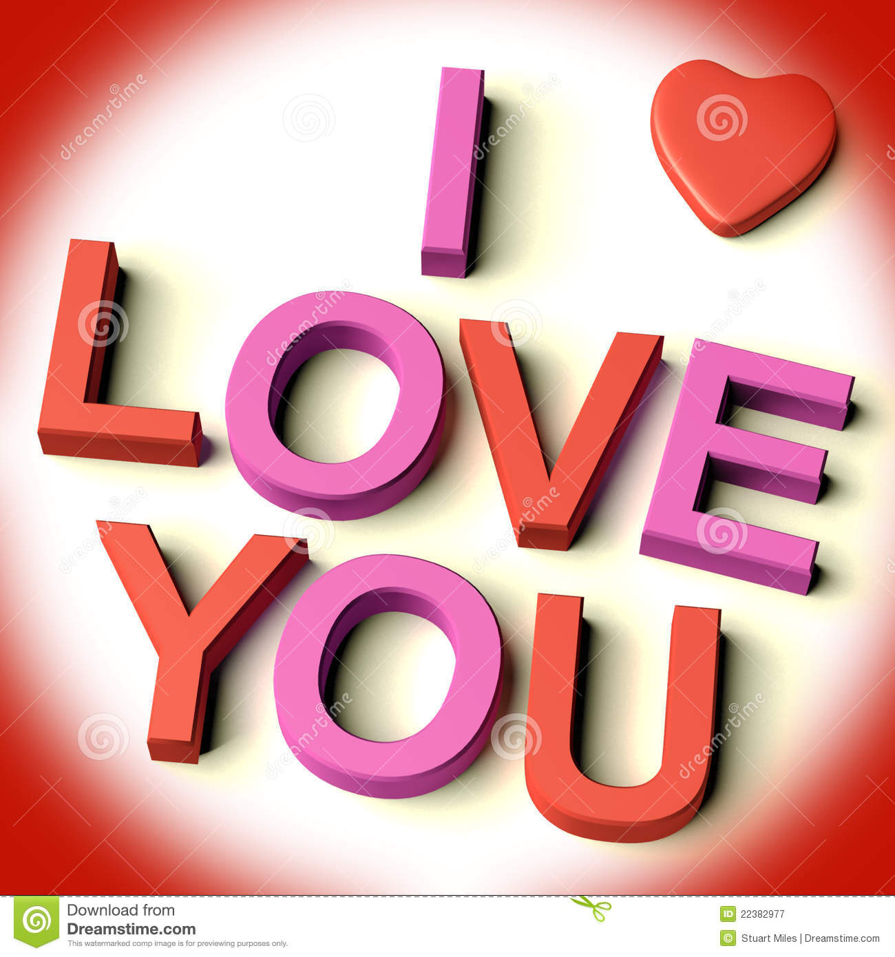 Letters Spelling I Love You With Heart Royalty Free Stock