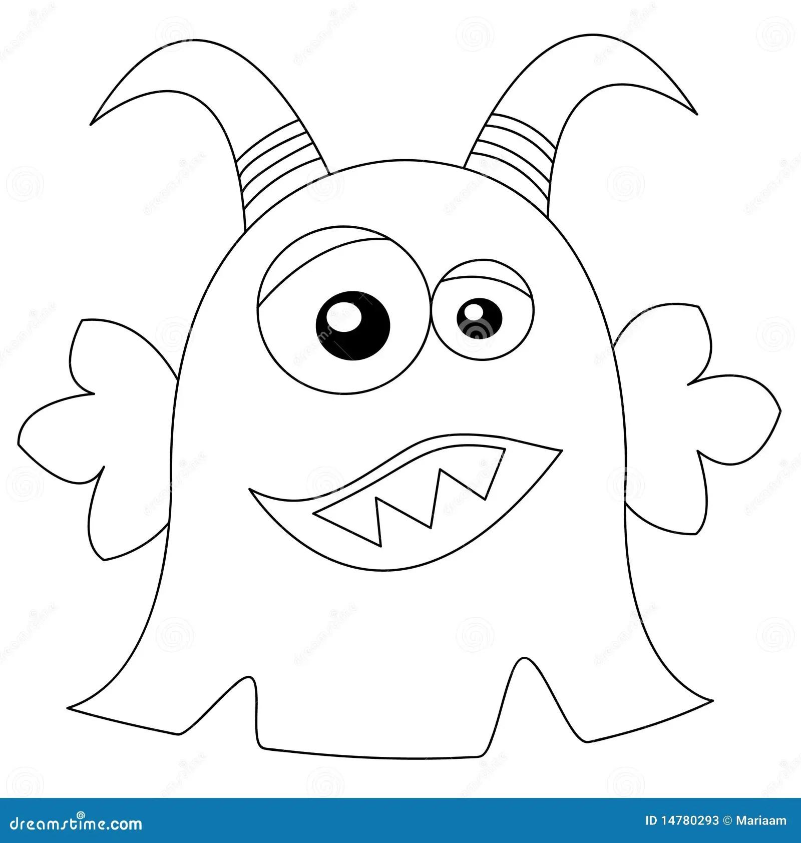 Leuk Monster In Zwart Amp Wit Stock Illustratie
