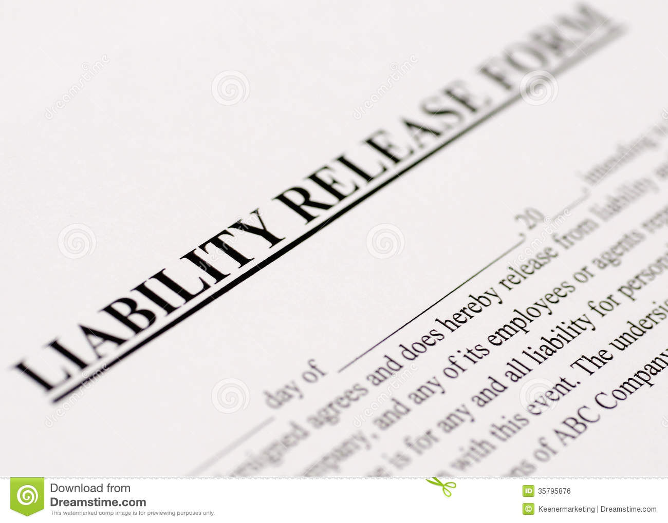 Liability Release Form stock photo. Image of paperwork