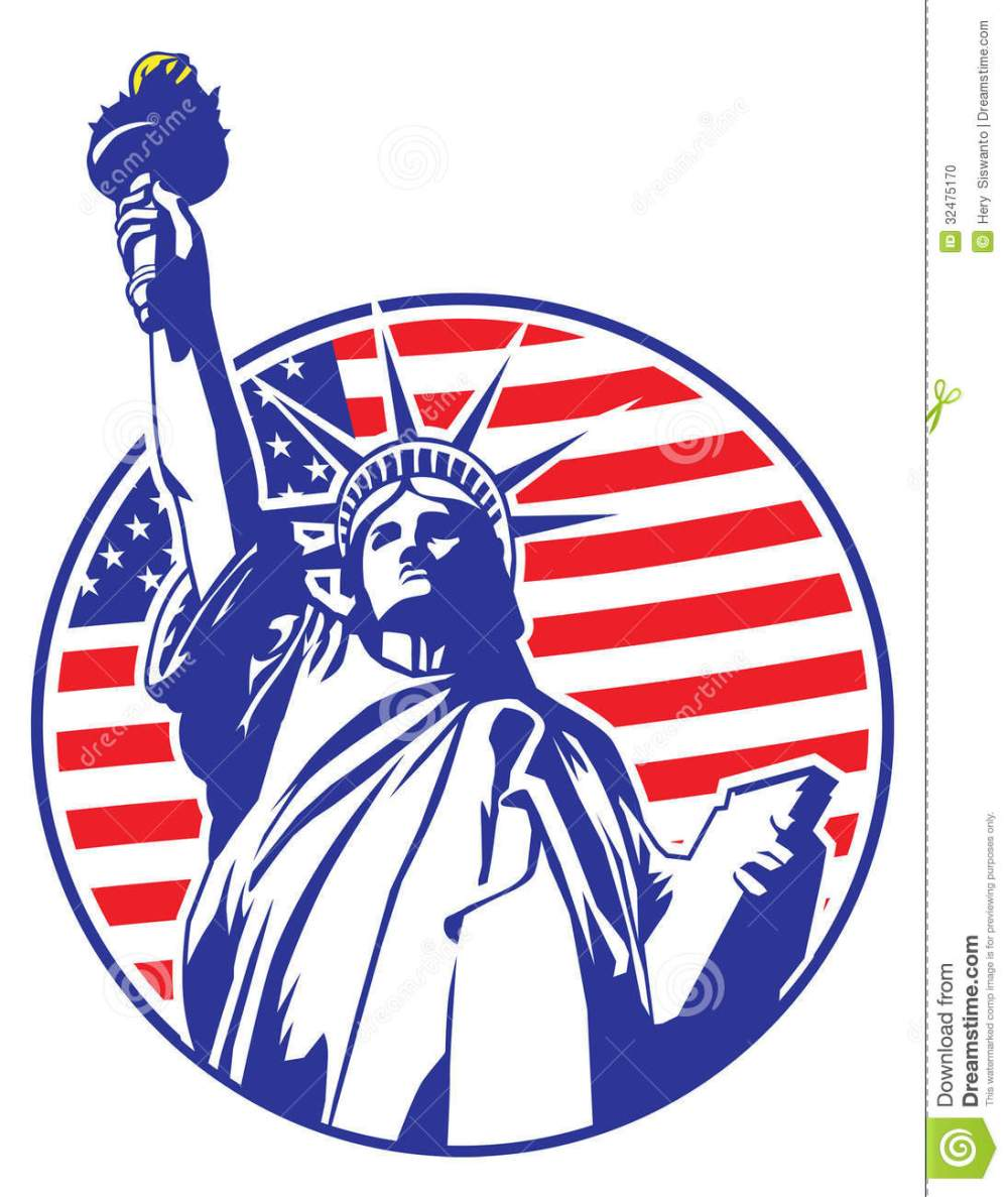 medium resolution of liberty statue with usa flag as a background