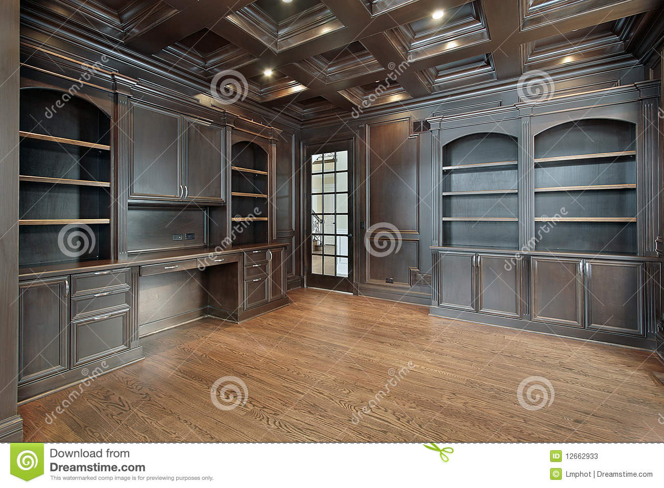 Library with dark paneling stock image Image of executive