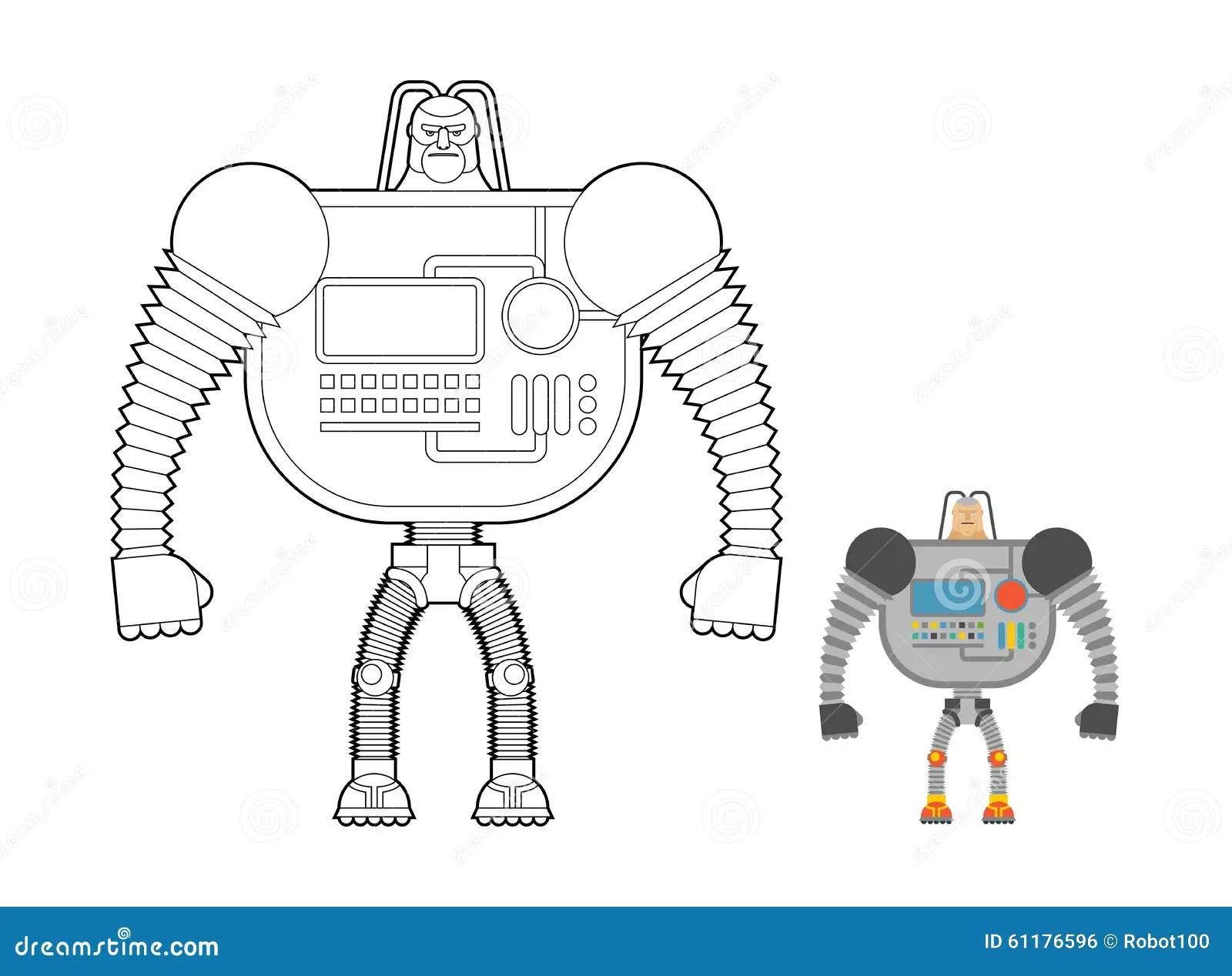 Libro Da Colorare Del Guerriero Del Cyborg Uomo Macchina