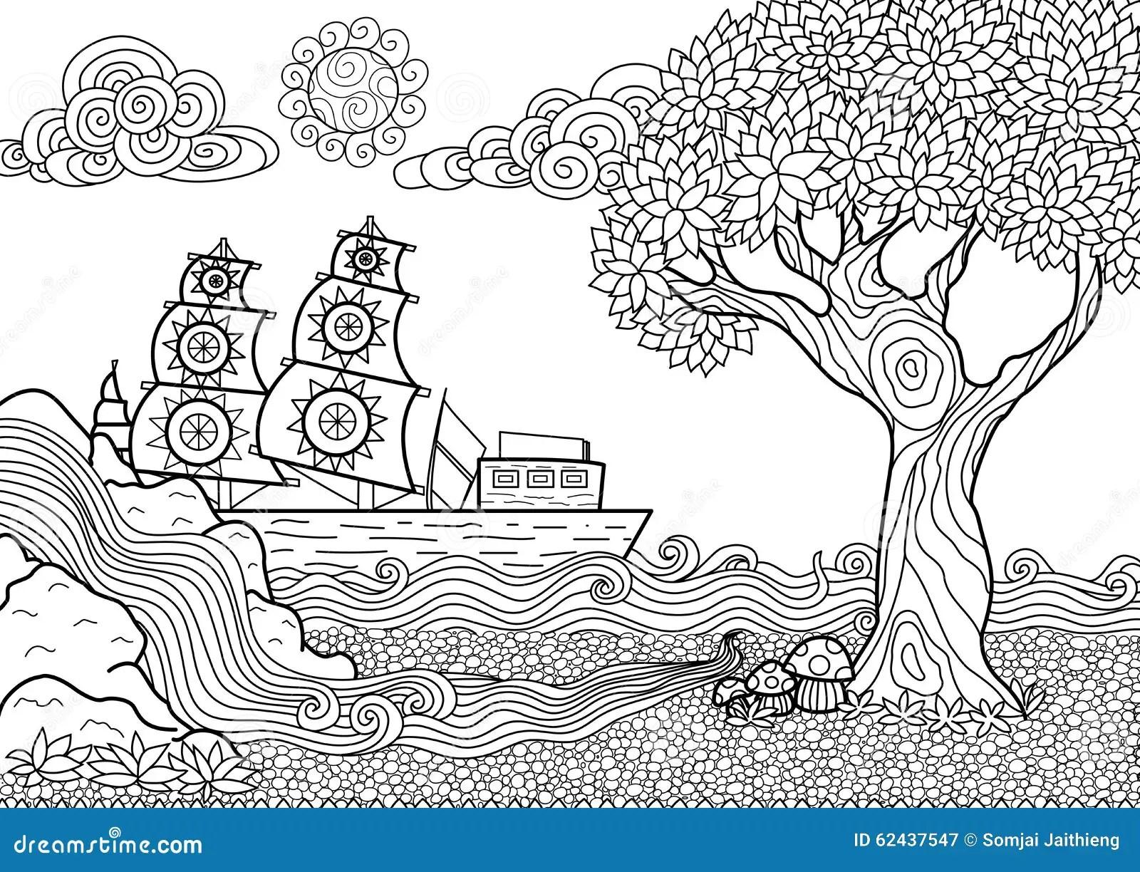 Libro Da Colorare Del Paesaggio Illustrazione Vettoriale