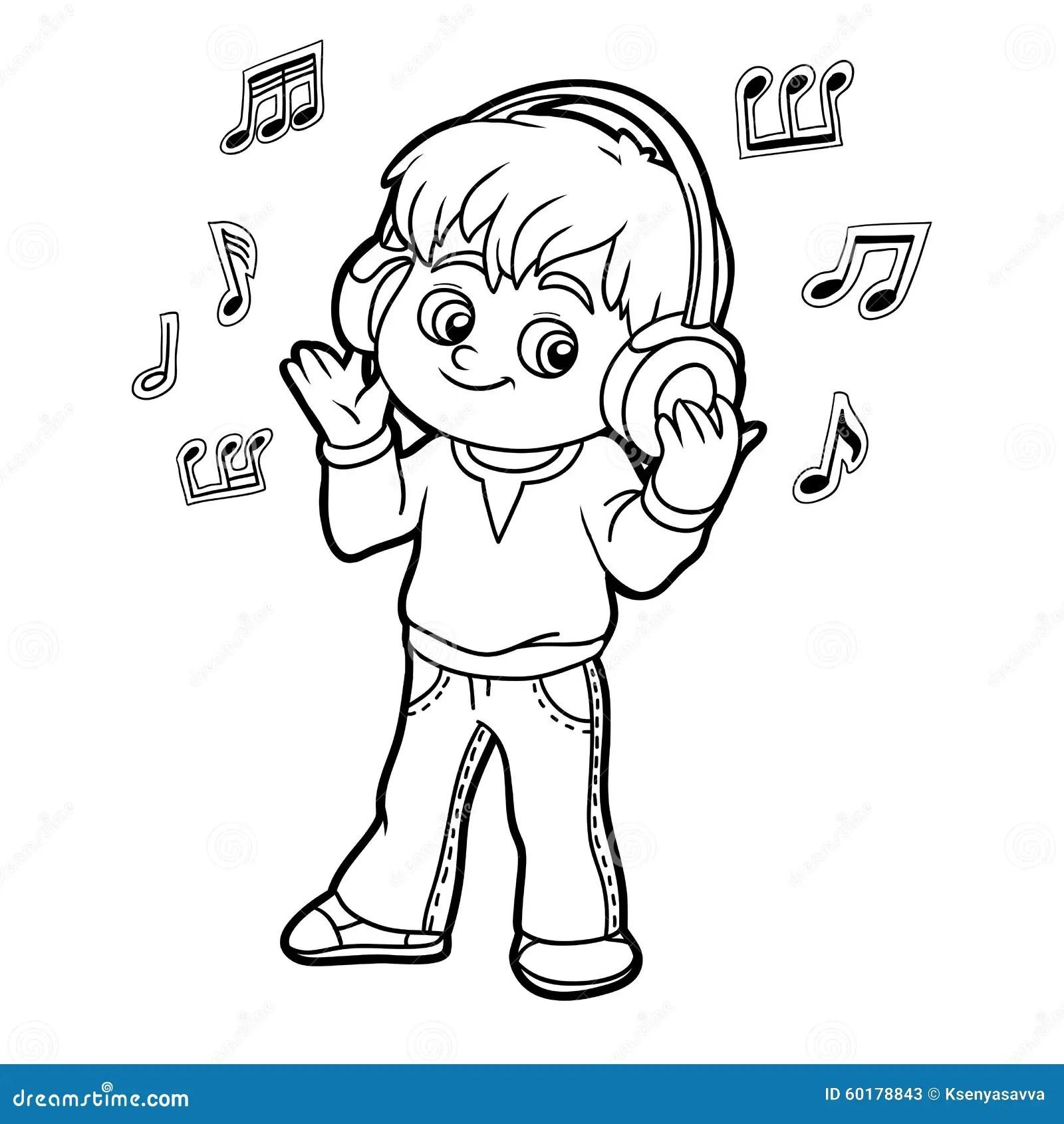 Libro Da Colorare Ragazzino Che Ascolta La Musica Sulle
