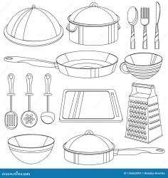 Libro De Colorear Del Artículos De Cocina Ejemplo Del Vector Para Los Niños Ilustración del Vector Ilustración de libro vector: 126563893