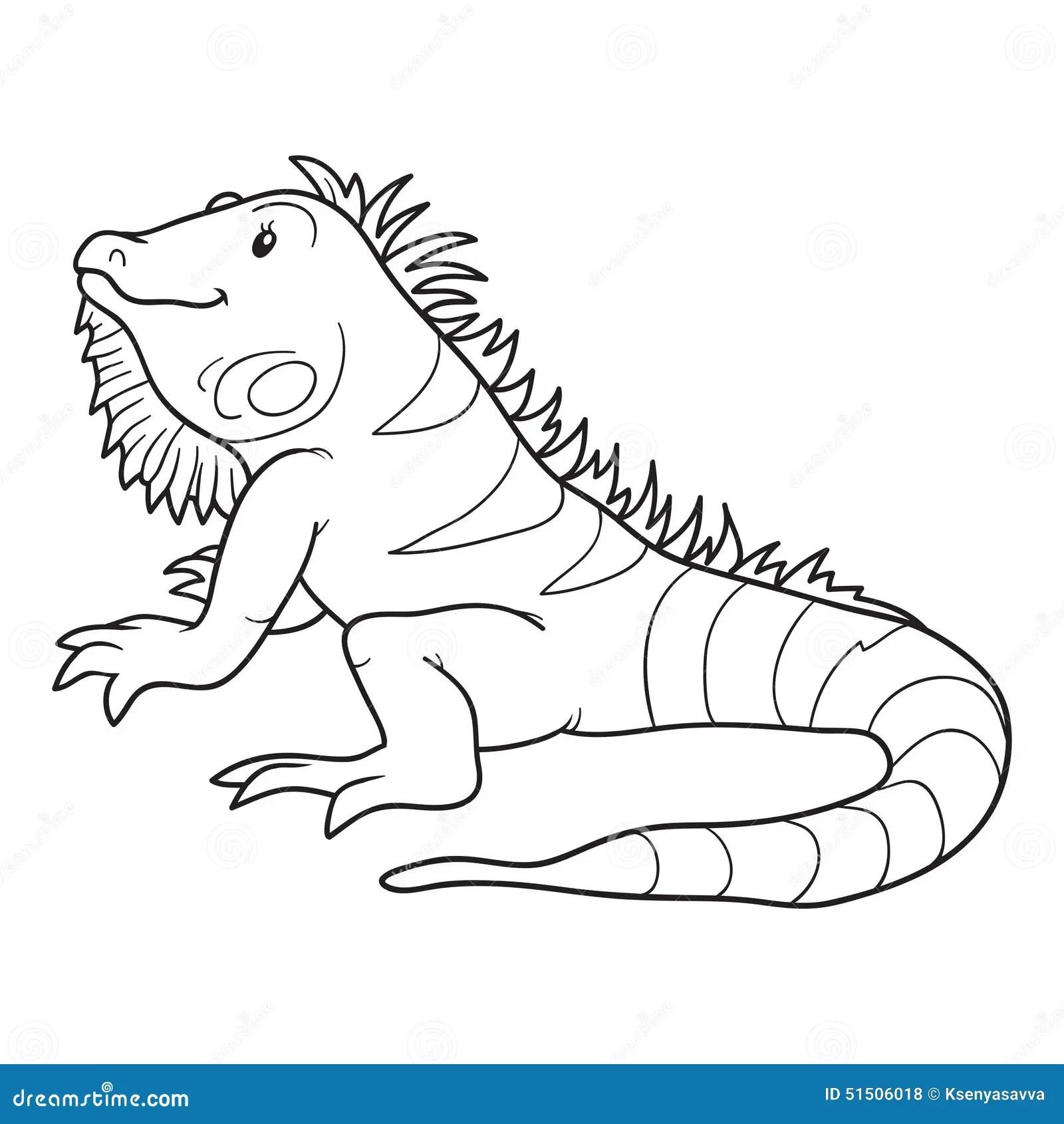Libro de colorear (iguana) ilustración del vector