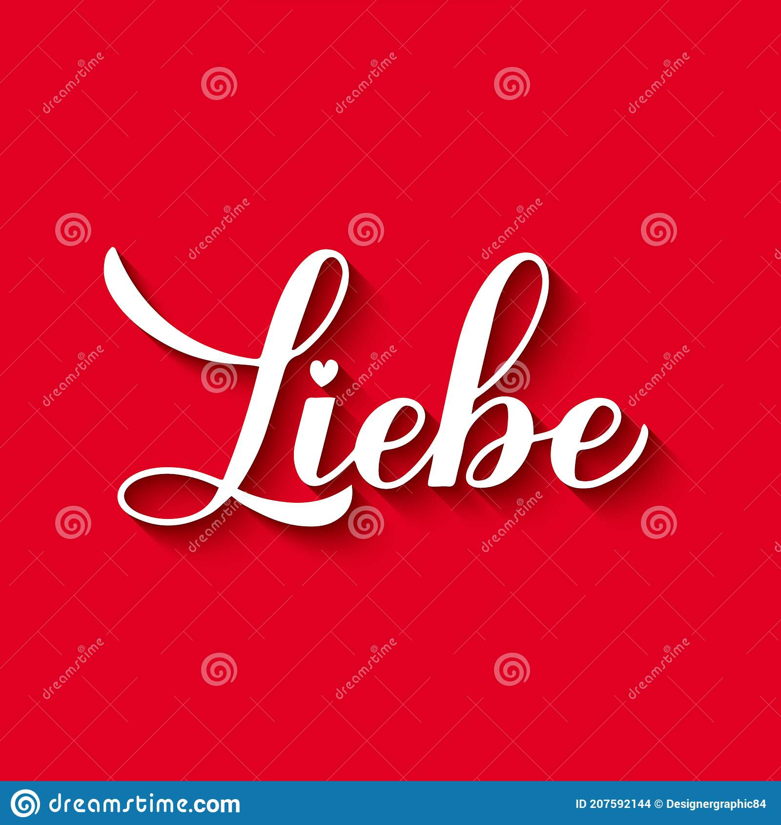Liebe Calligraphy Hand Lettering On Red Background Love Inscription In German Valentines Day Typography Poster Vector Template Stock Vector Illustration Of Poster Calligraphy 207592144