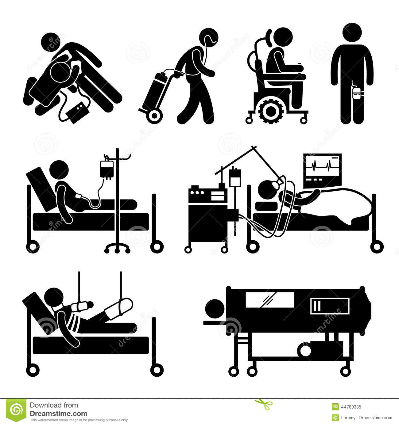 Life Support Equipments Cliparts Icons Stock Vector