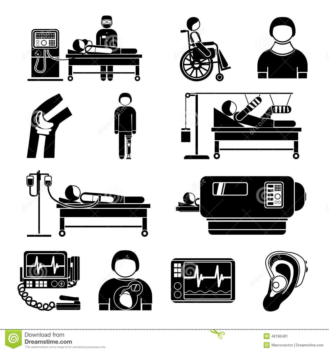 Life Support Medical Equipment Icons Stock Vector