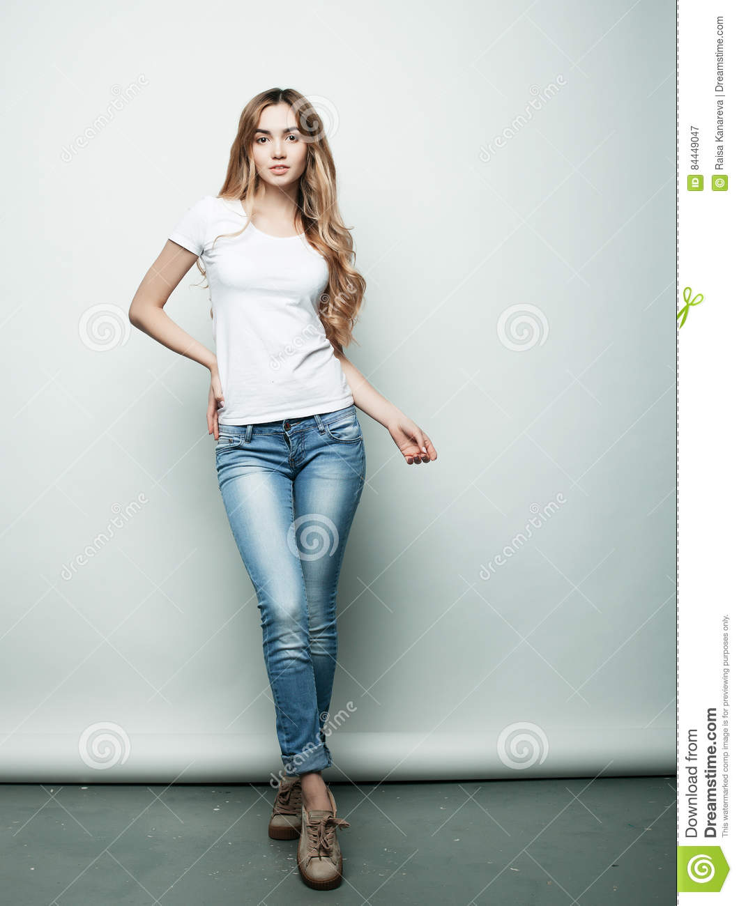 Lifestyle. Fashion And People Concept: Full Body Young Fashion Woman Model Posing In Studio Stock Image - Image of background. girl: 84449047