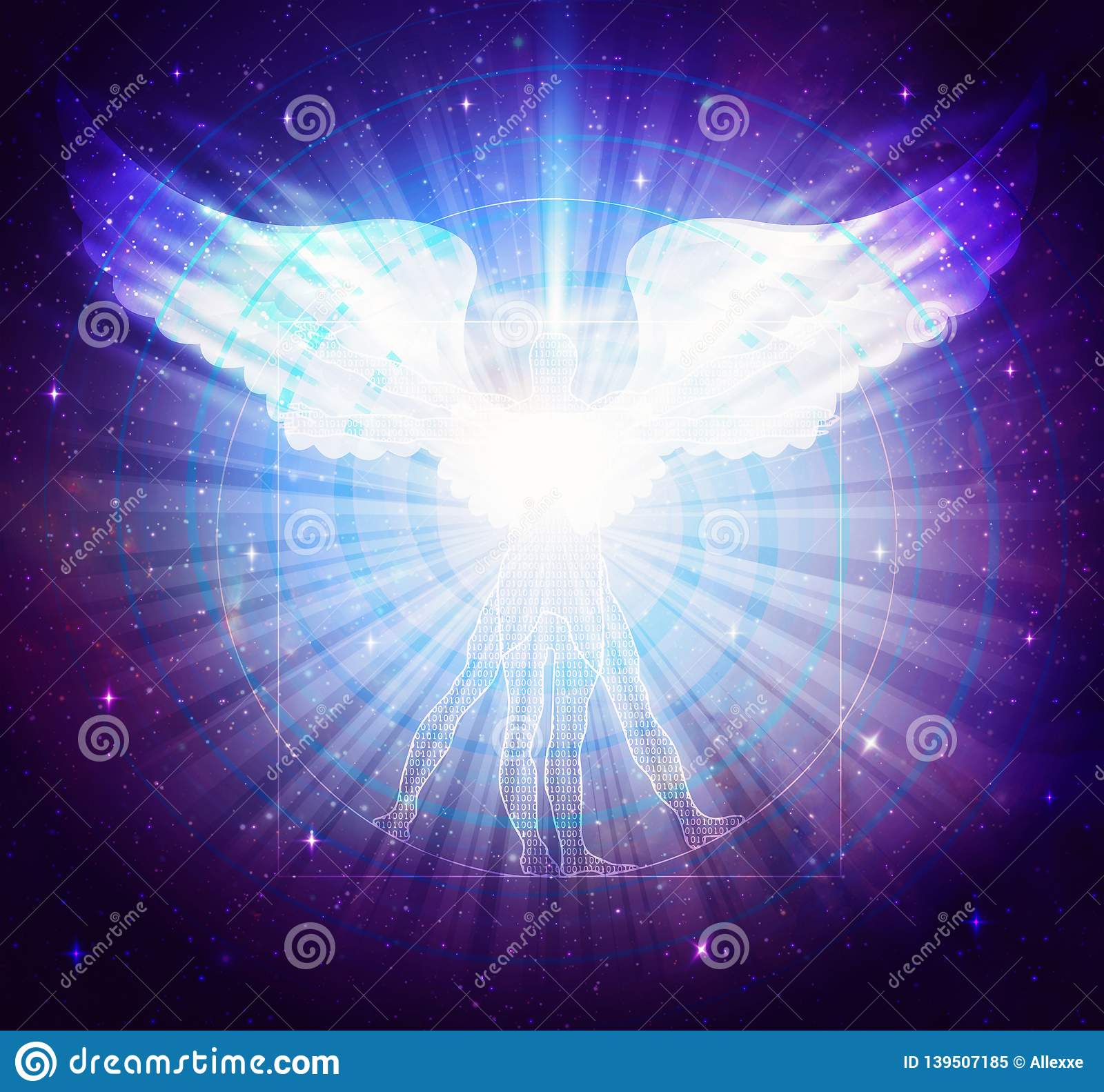 hight resolution of light beings vitruvian human diagram body with binary codes and angel wings glowing white light rays blue and purple background with sparkling stars