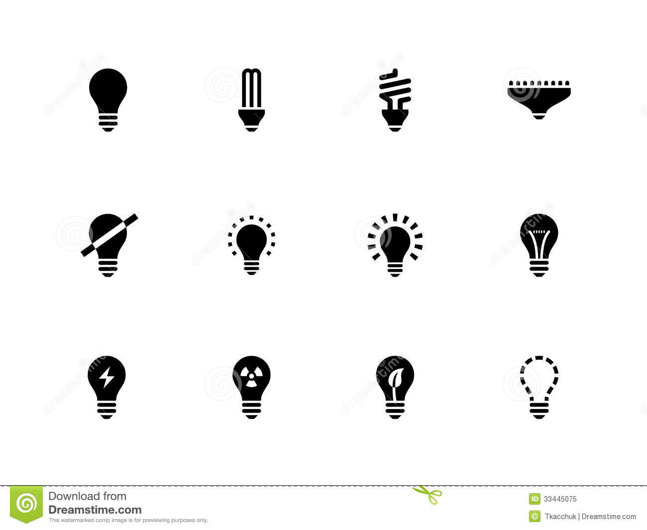 Light Bulb And Cfl Lamp Icons On White Background Stock