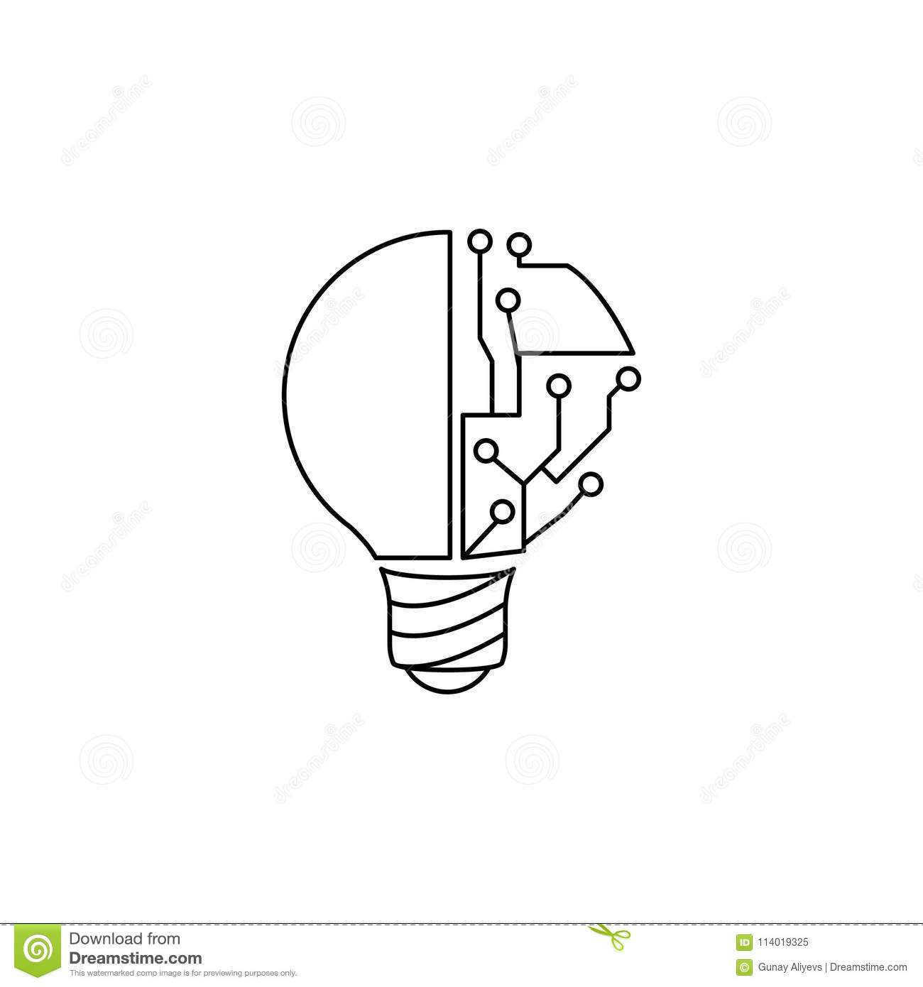 Light Bulb And Circuit Icon Element Of Idea And Solutions