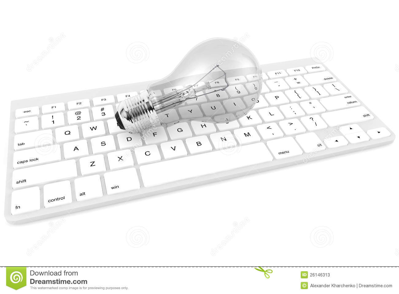 Light Bulb And Computer Keyboard Royalty Free Stock