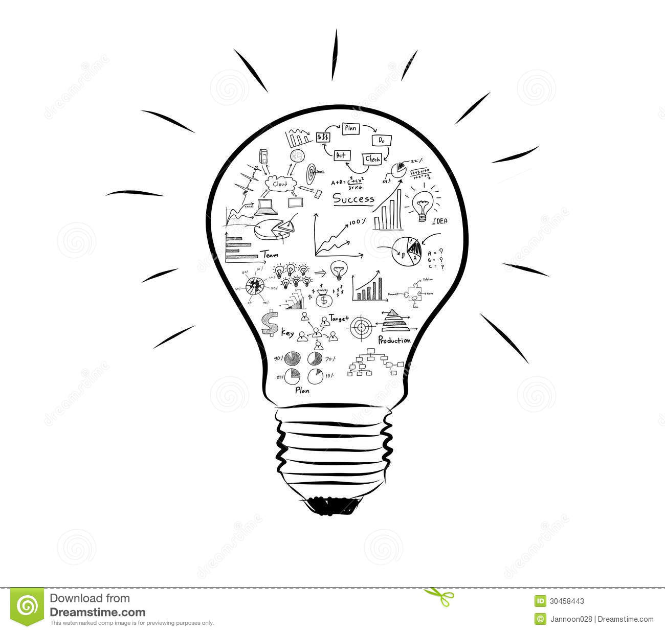 Light Bulb With Drawing Graph Inside Stock Illustration