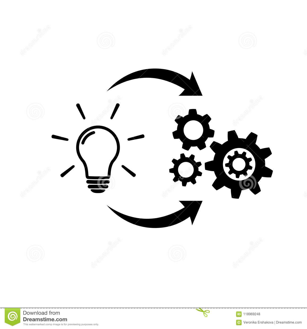 Light Bulb With Gear And Circulating Arrows Icon Stock