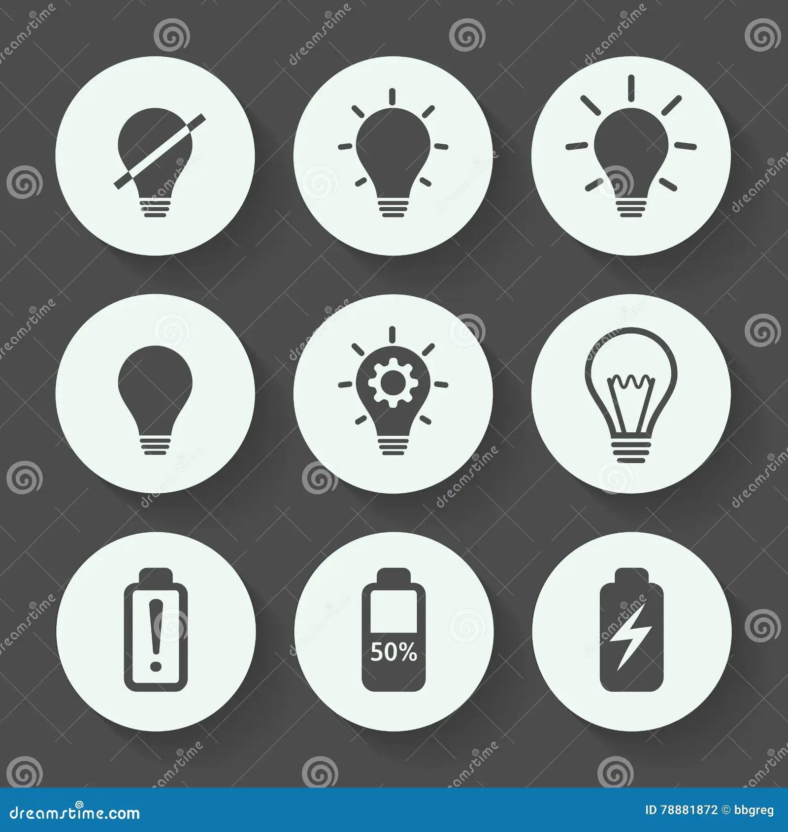 Light Bulb Gray Icon Set Flat Design Vector Illustration