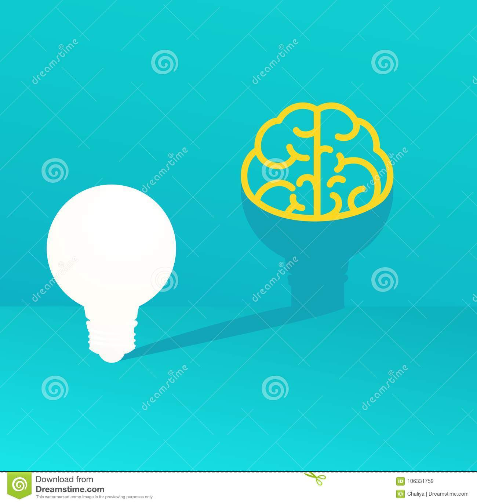 Light Bulb Idea Concept Light Bulb Casts A Shadow In The Form Of Brain On Wall Stock Vector