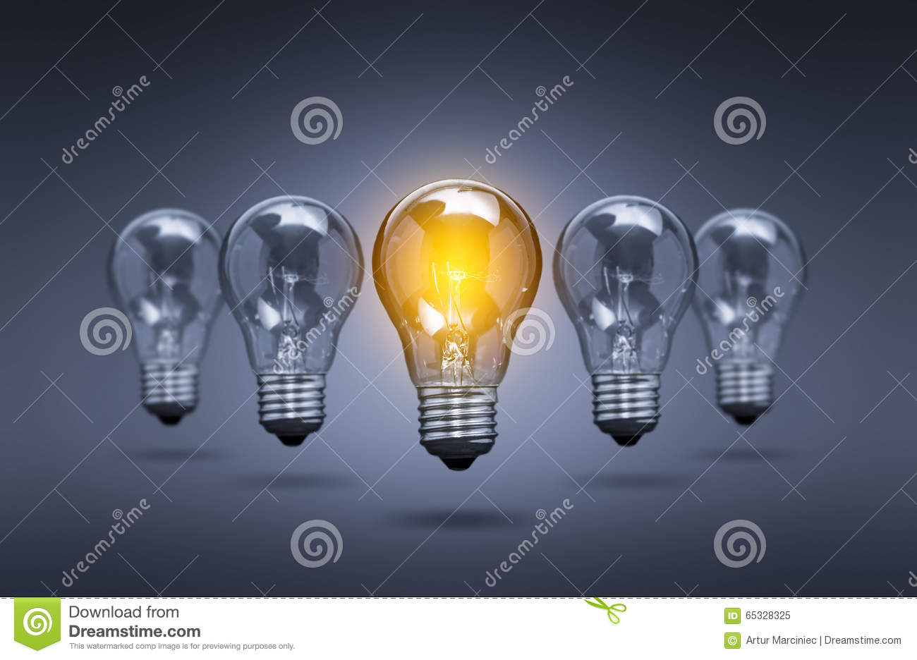 Light Bulb Lamps On A Colour Background Stock