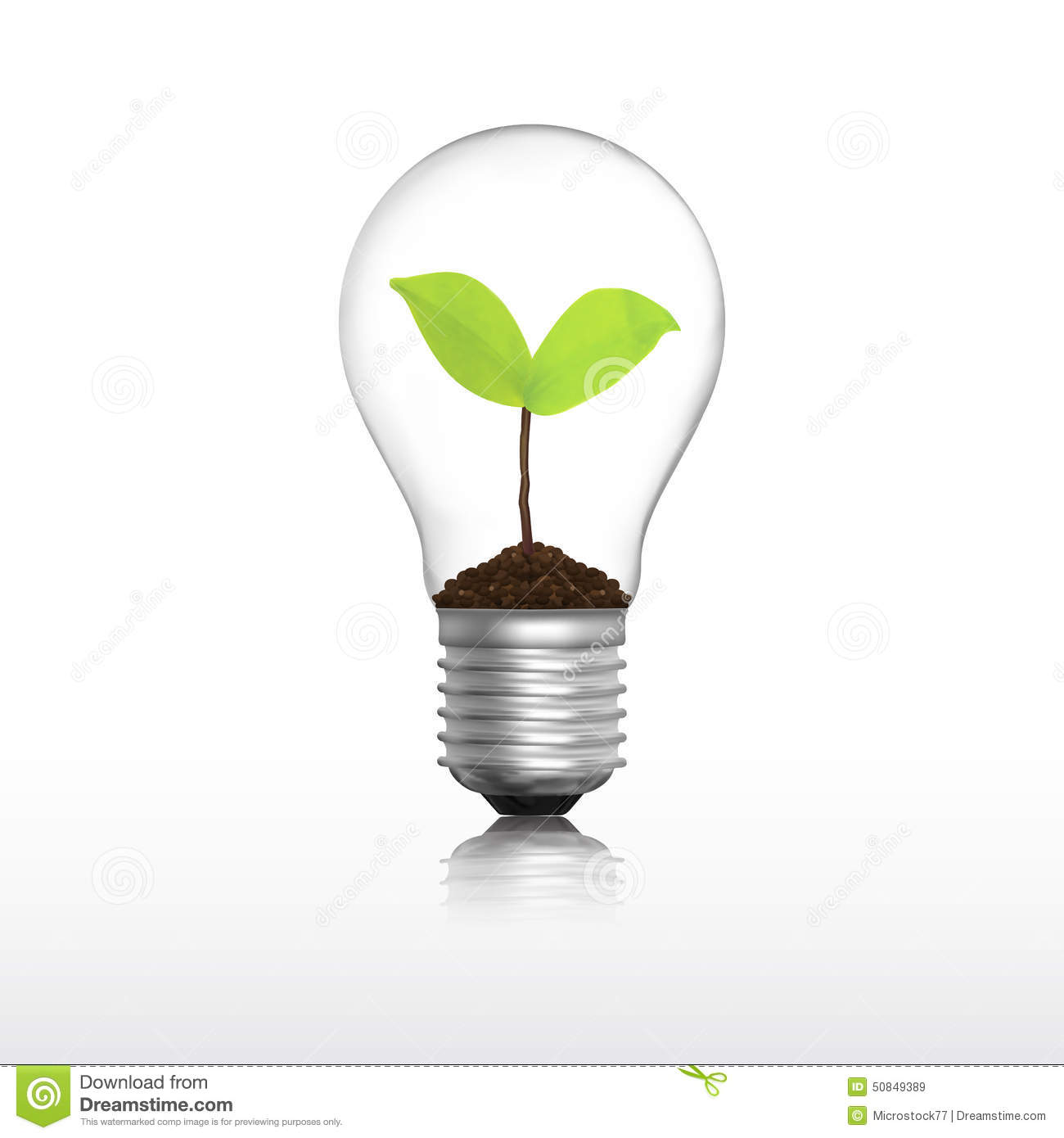 Light Bulb With Plant Stock Vector Illustration Of Inside