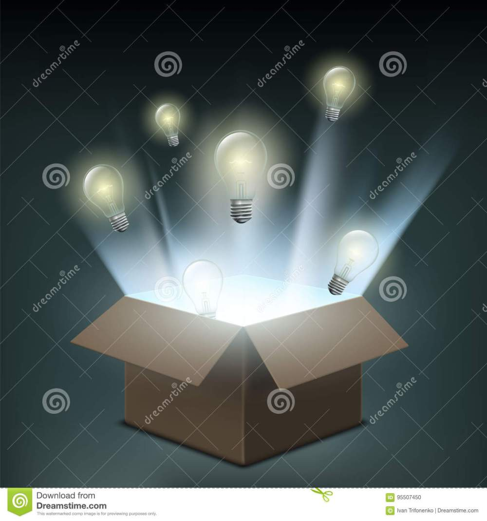 medium resolution of light bulbs fly out of a cardboard box symbol of creative innovation and business start up power of electricity and technological discoveries