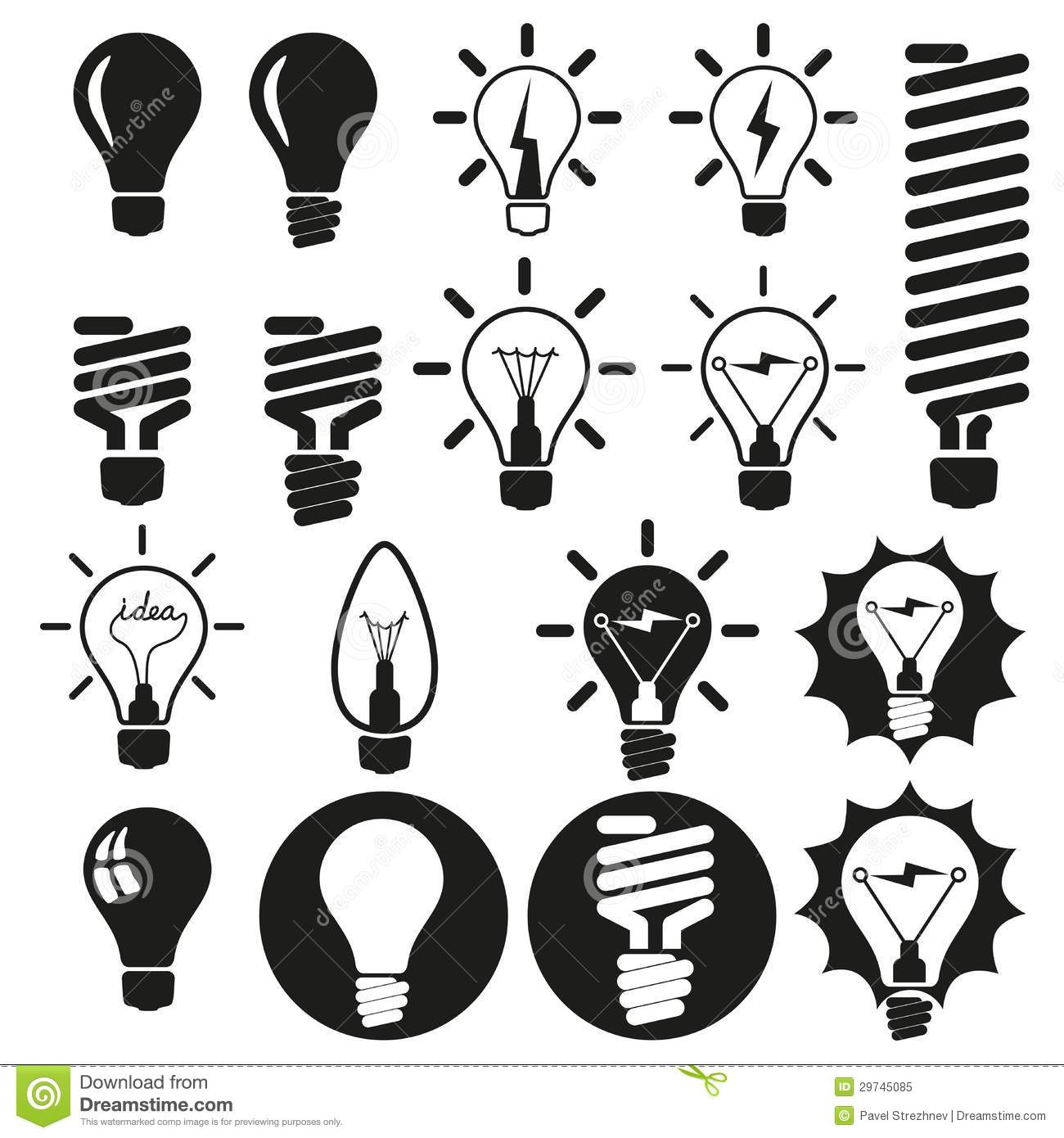 Light Bulbs Bulb Icon Set Stock Vector Image Of