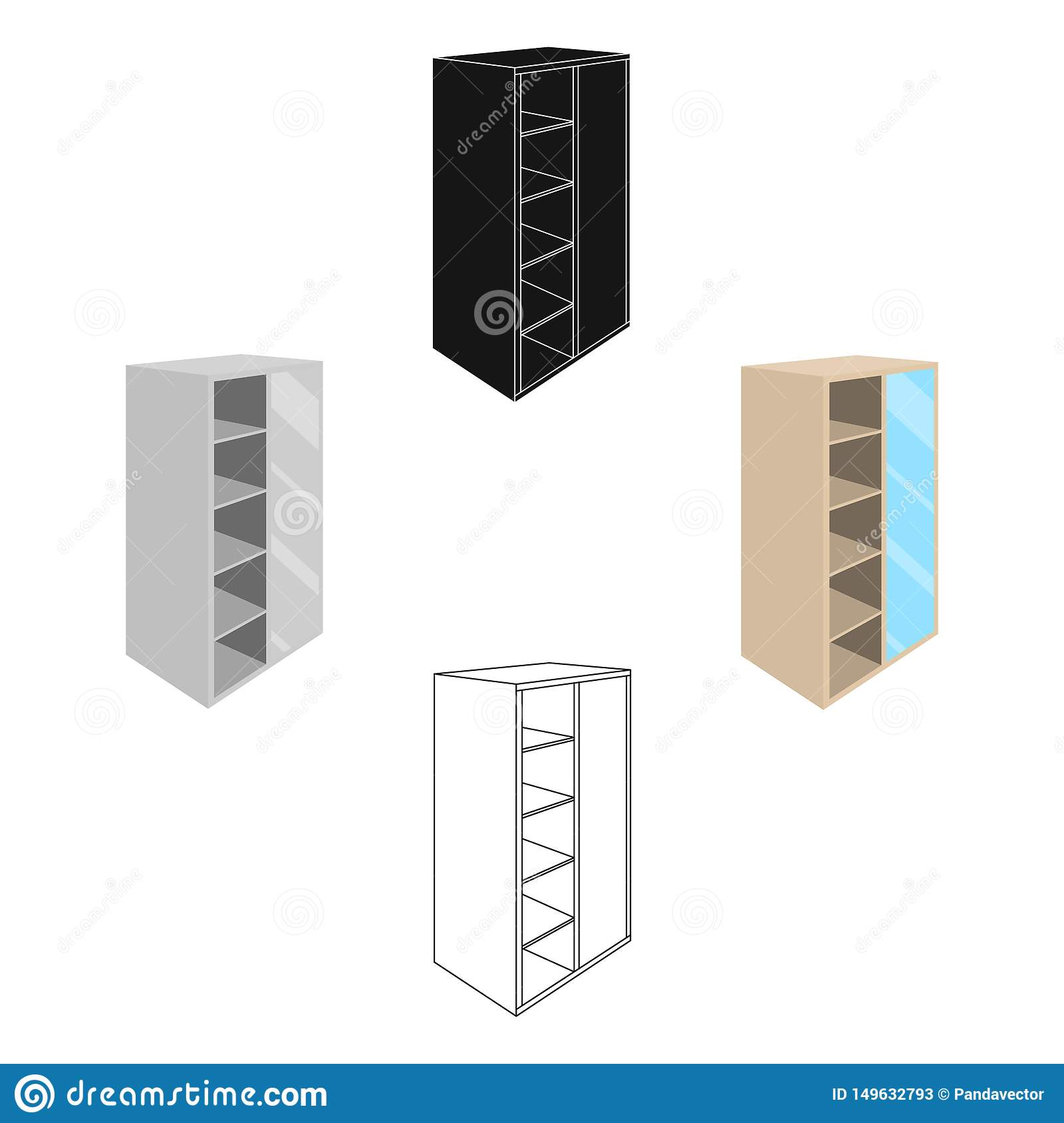 Light Cabinet With Bins And Mirror Wardrobe For Women S Clothing Bedroom Furniture Single Icon In Cartoon Black Style Stock Vector Illustration Of Shelf Interior 149632793