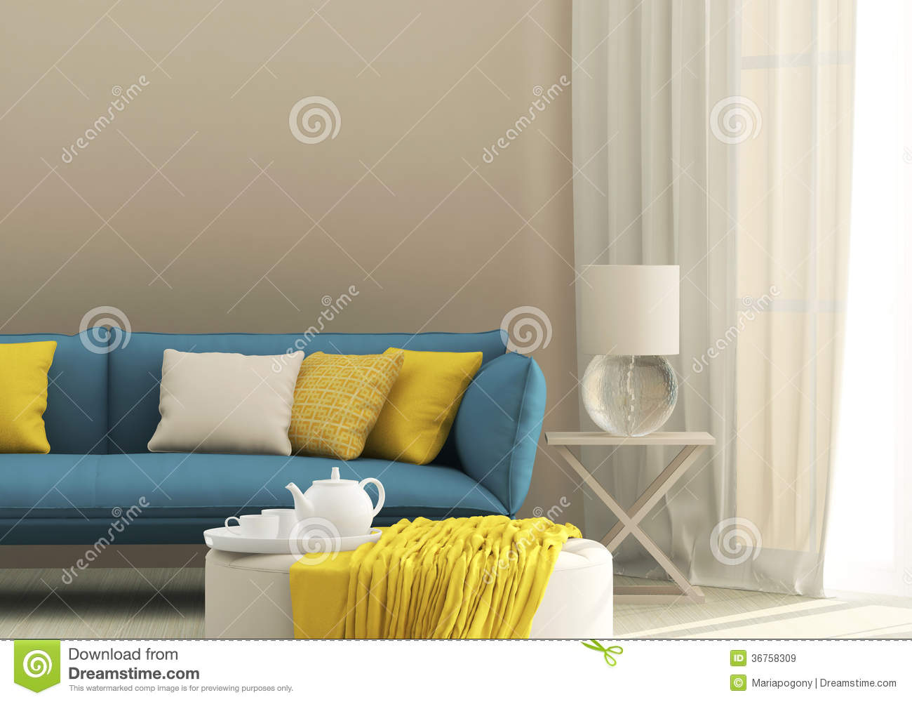 Light Interior With Blue Sofa Stock Image  Image of