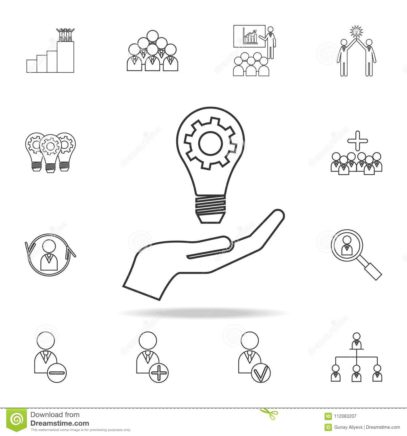 Light Lamp Bulb With Cogwheel Gear In Hand Idea Icon
