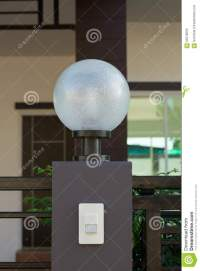 Light Lamp On Front Gate Of Decoration Residential Stock ...