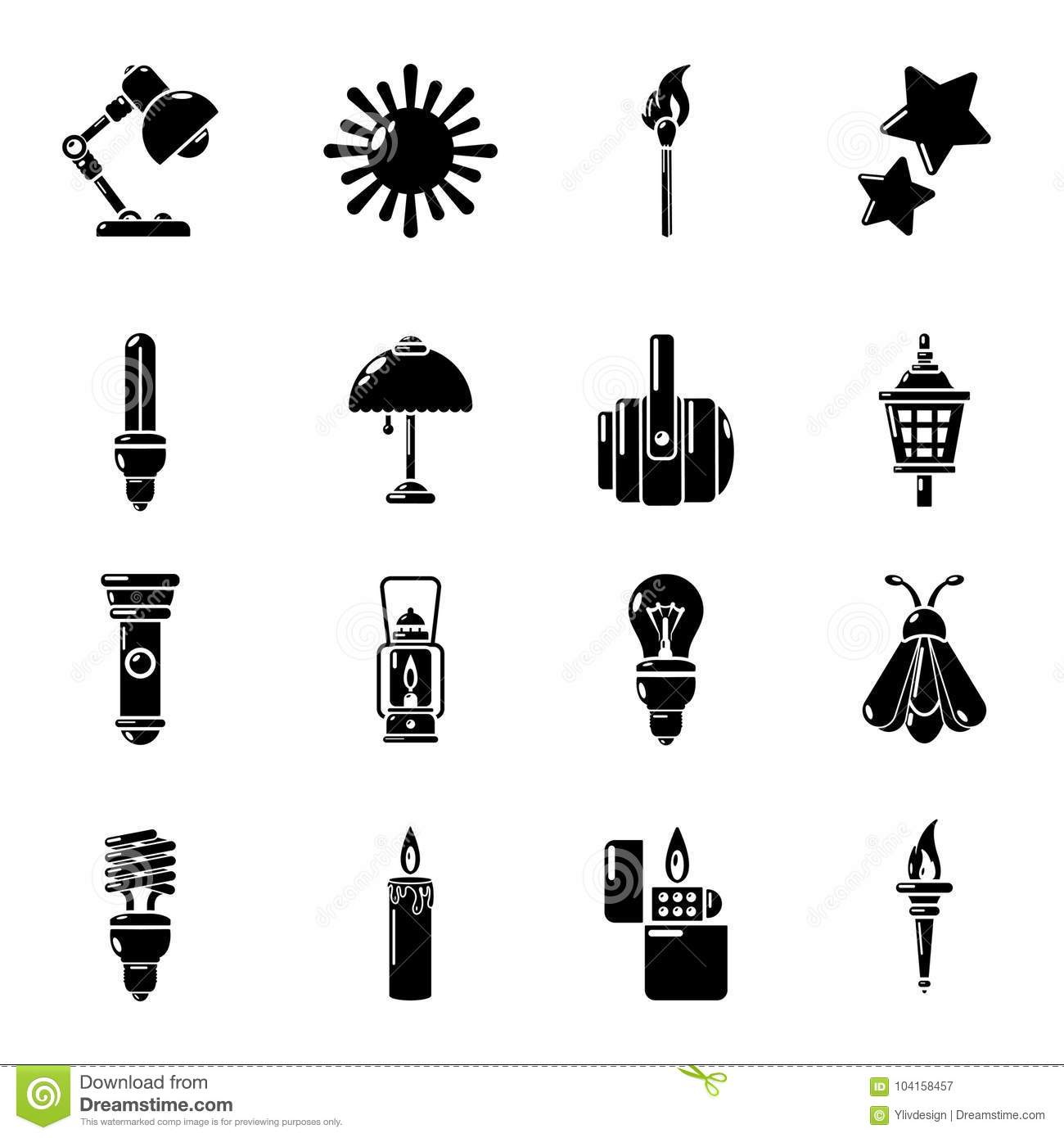 Light Source Icons Set Simple Style Stock Vector