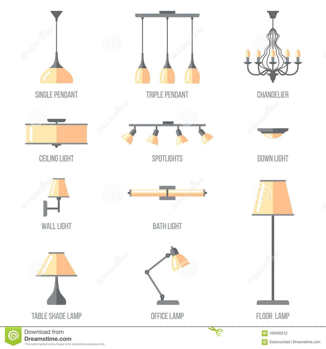Light Types Stock Vector Illustration Of Flat Electric