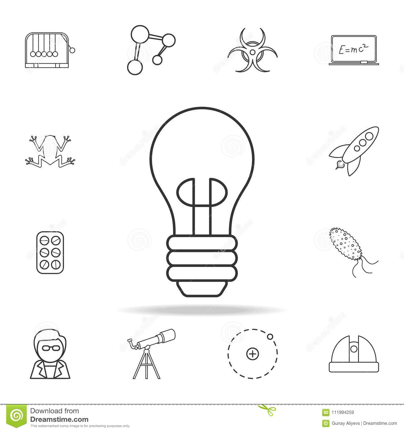 Lightbulb Icon. Detailed Set Of Science And Learning