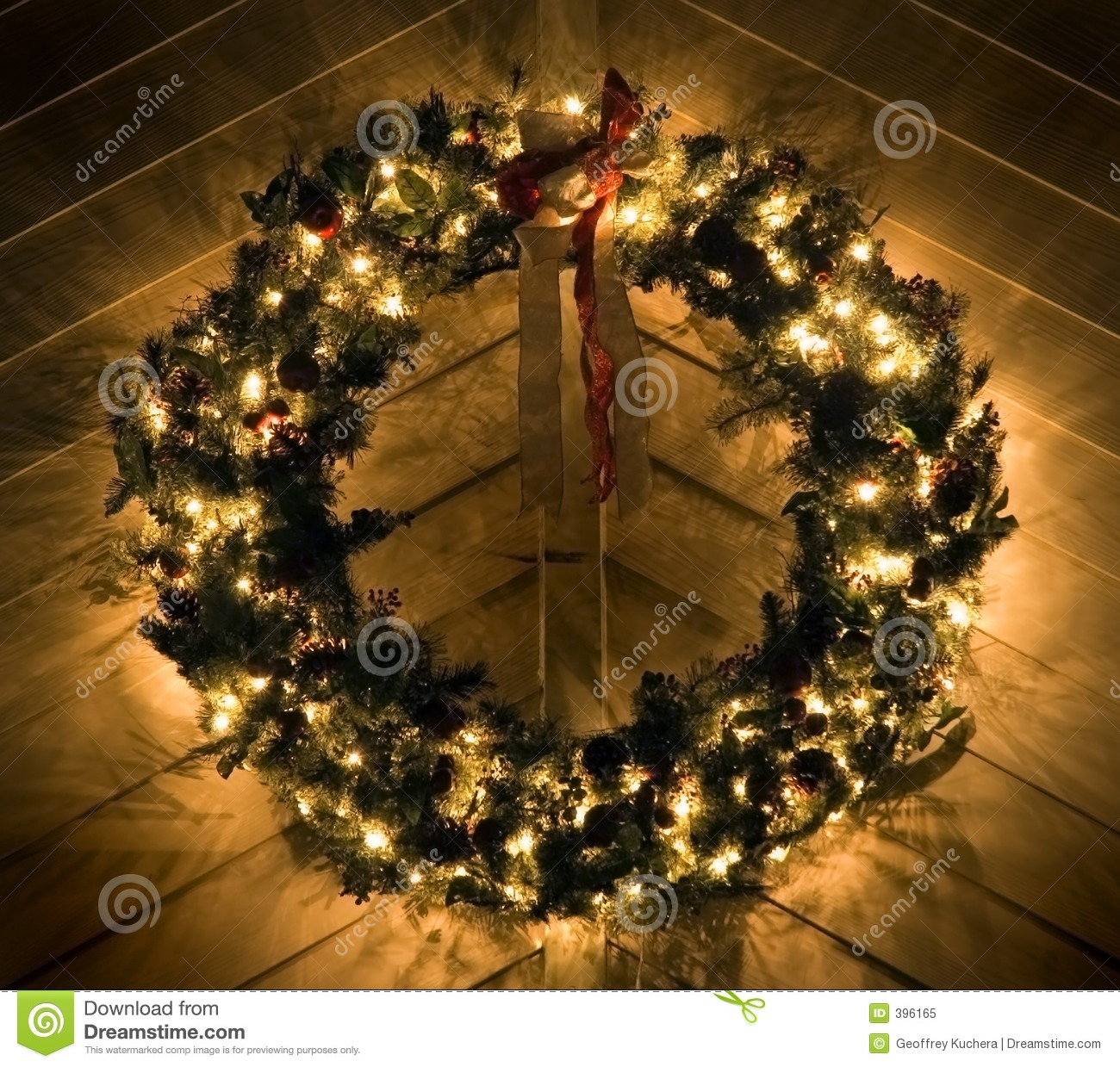 lighted christmas wreath stock