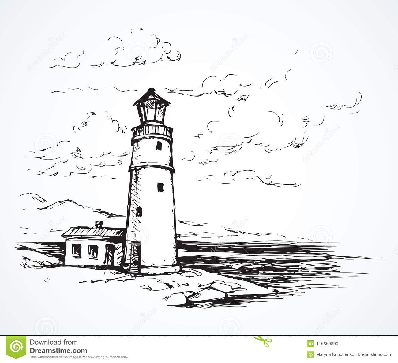 Lighthouse. Vector drawing stock vector. Illustration of