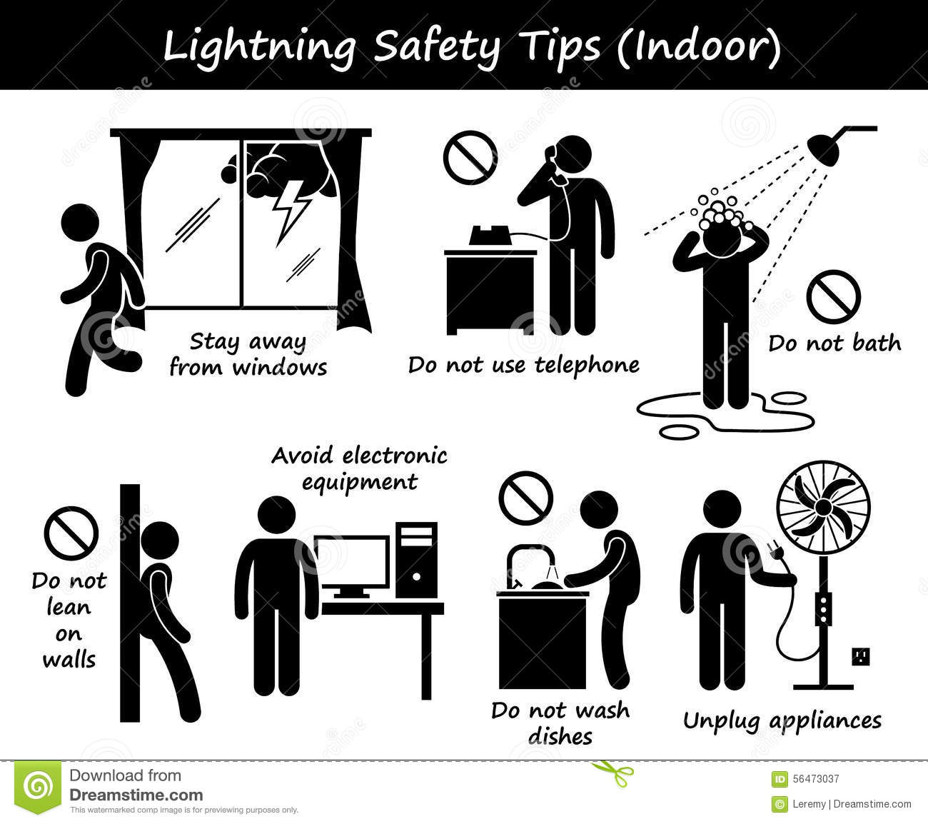 Lightning Thunder Indoor Safety Tips Clipart Stock Vector