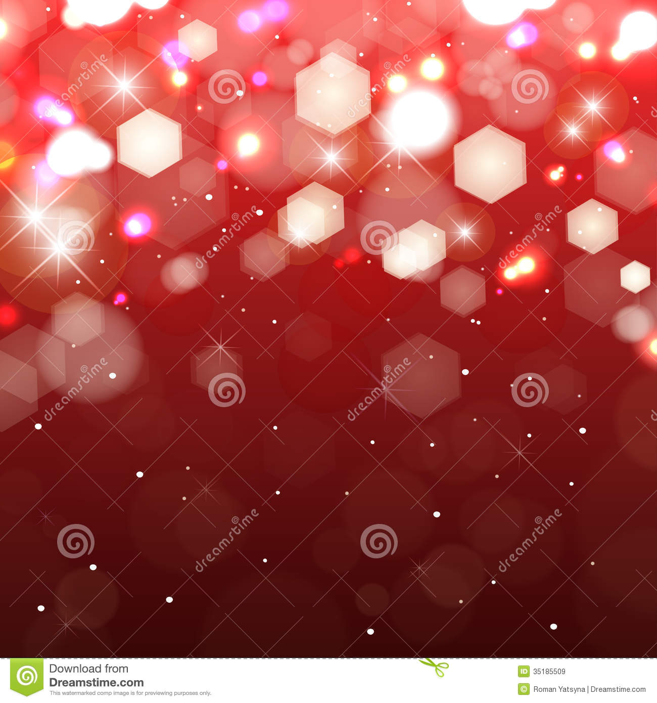 Lights On Red Background Shimmering Colored Light Royalty