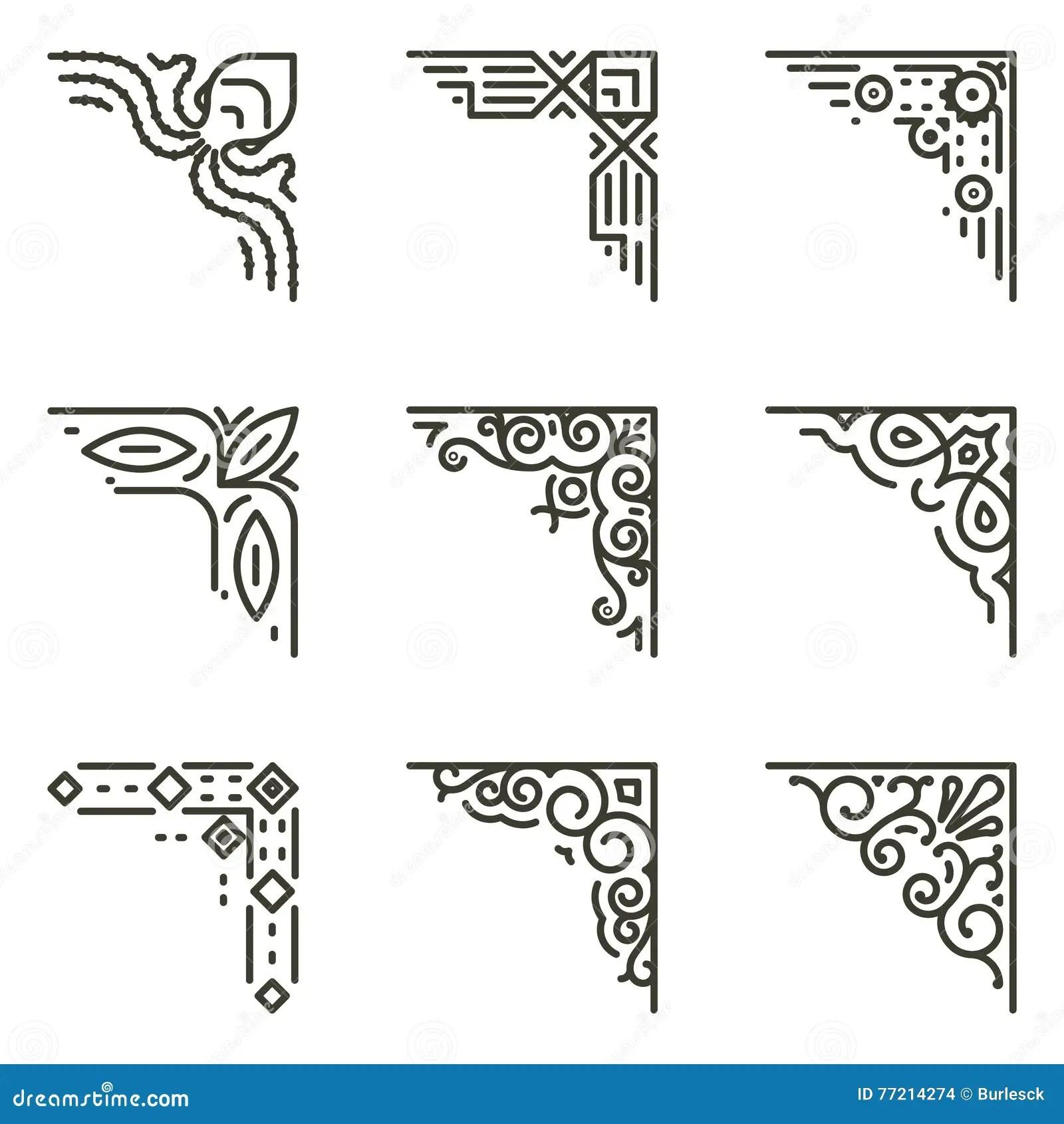 Ligne Calligraphique Coins De Vecteur Des Cadres De