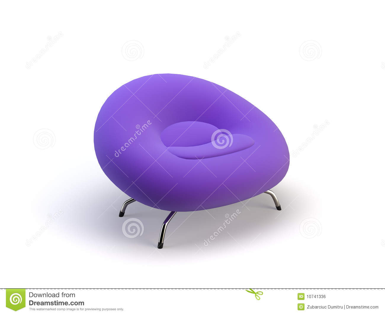 lilac office chair tulip cushion 3d royalty free stock image 10741336