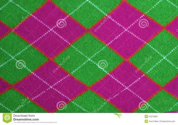 Lilac And Green Argyle Pattern Fabric Stock