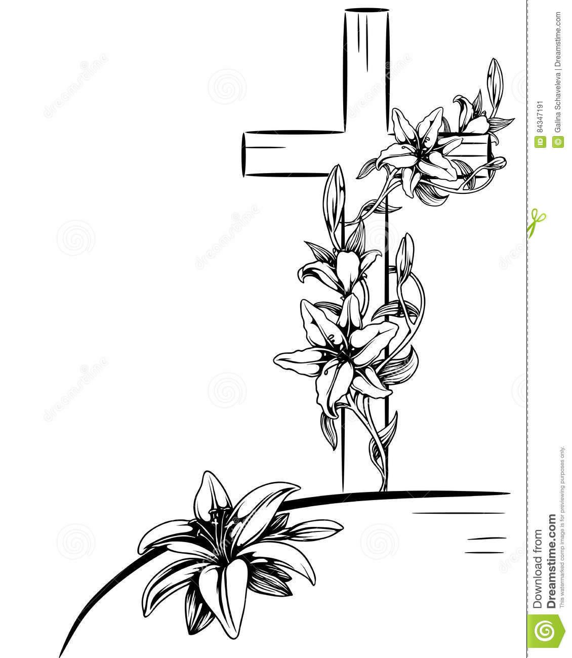 Lily And Cross Cartoon Vector