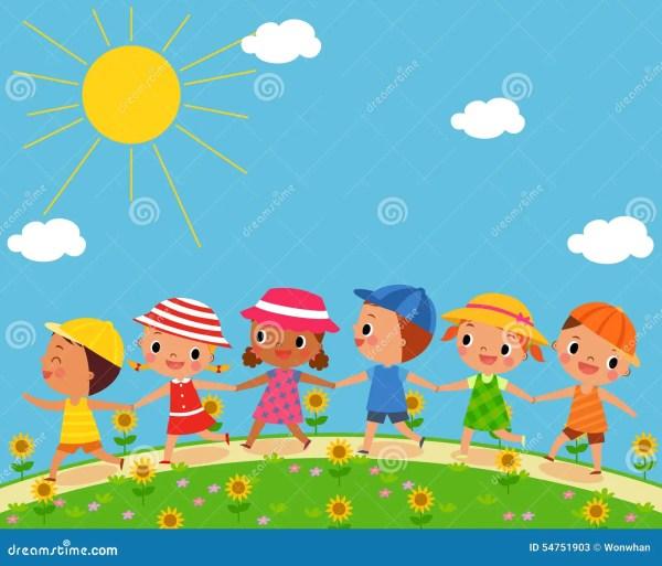 Children Walk Beautiful Summer Day Stock Illustrations 31