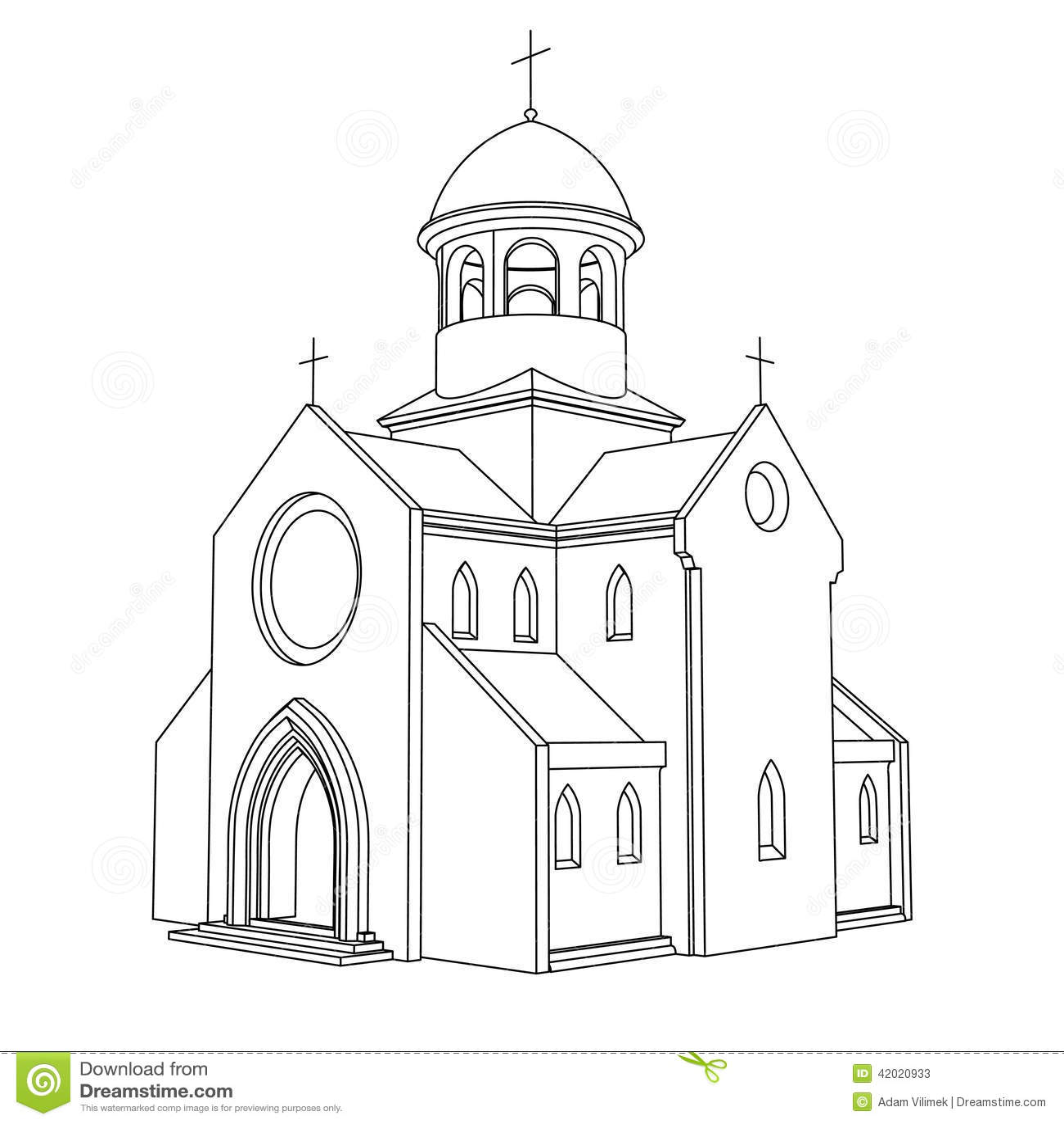 Line Art Ancient Basilica Drawing Vector Stock Vector