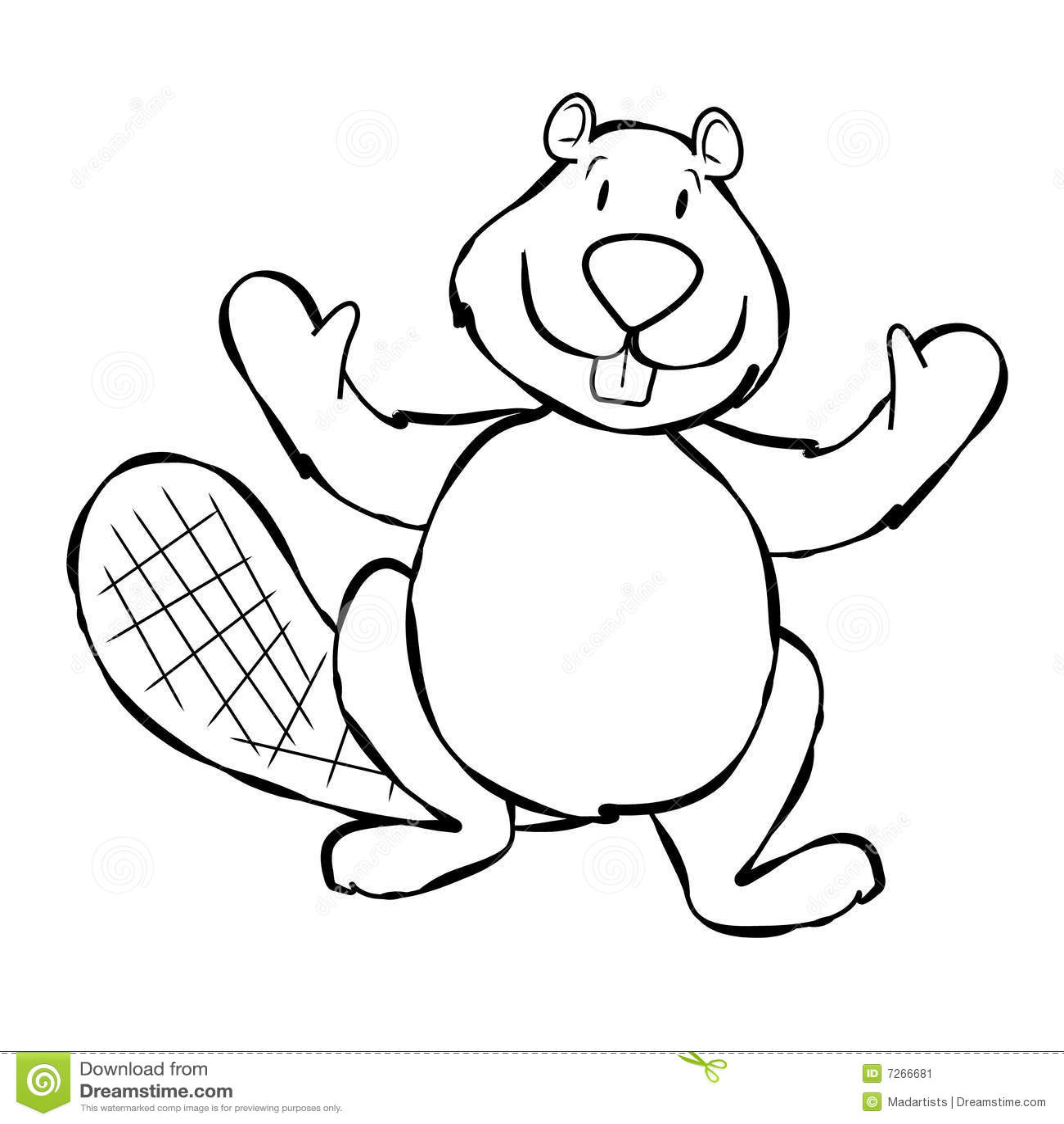 Line Art Beaver Cartoon Stock Image