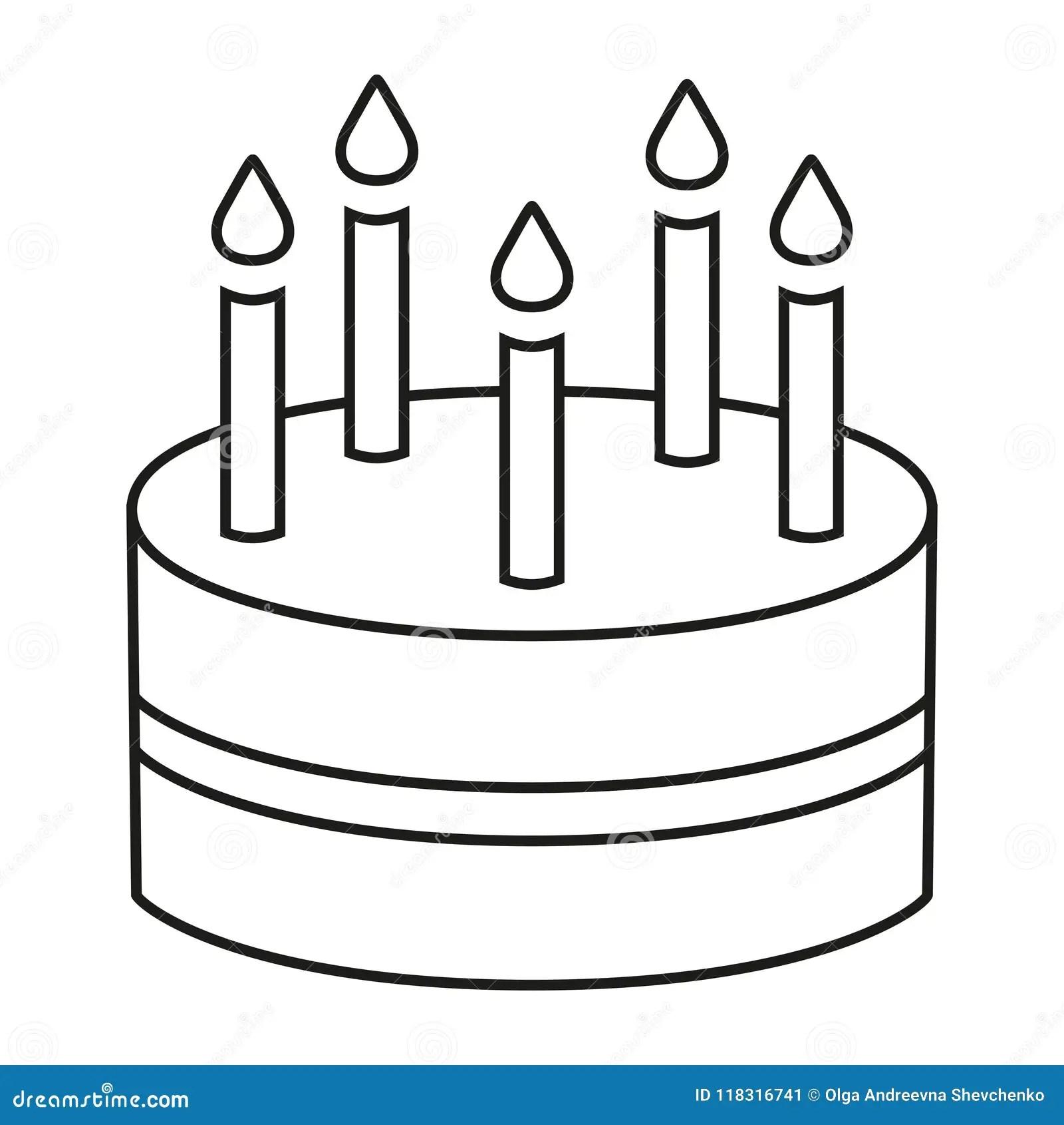 Line Art Black And White Birthday Cake 5 Candles Stock