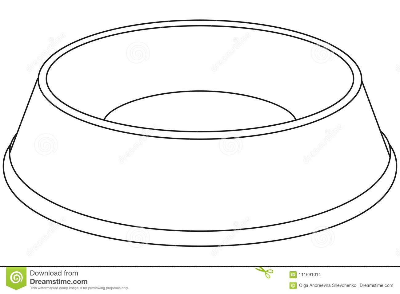 Line Art Black And White Empty Pet Food Bowl Stock