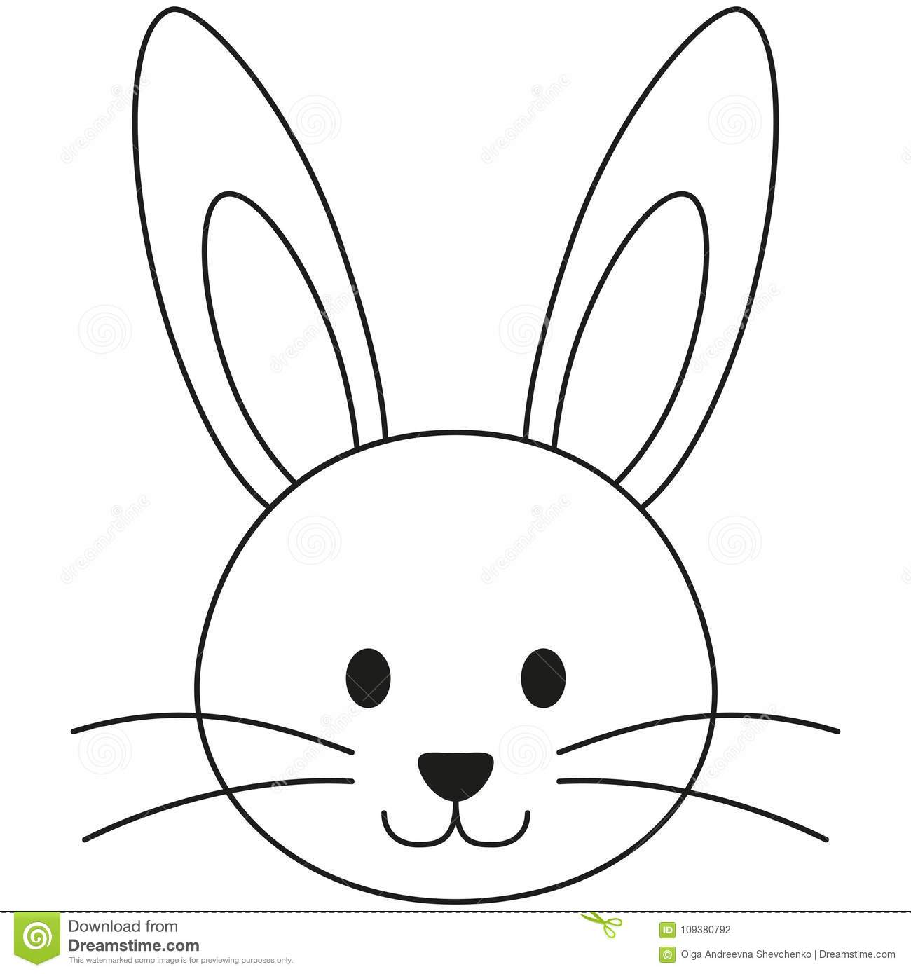 Line Art Black And White Rabbit Bunny Face Icon Poster