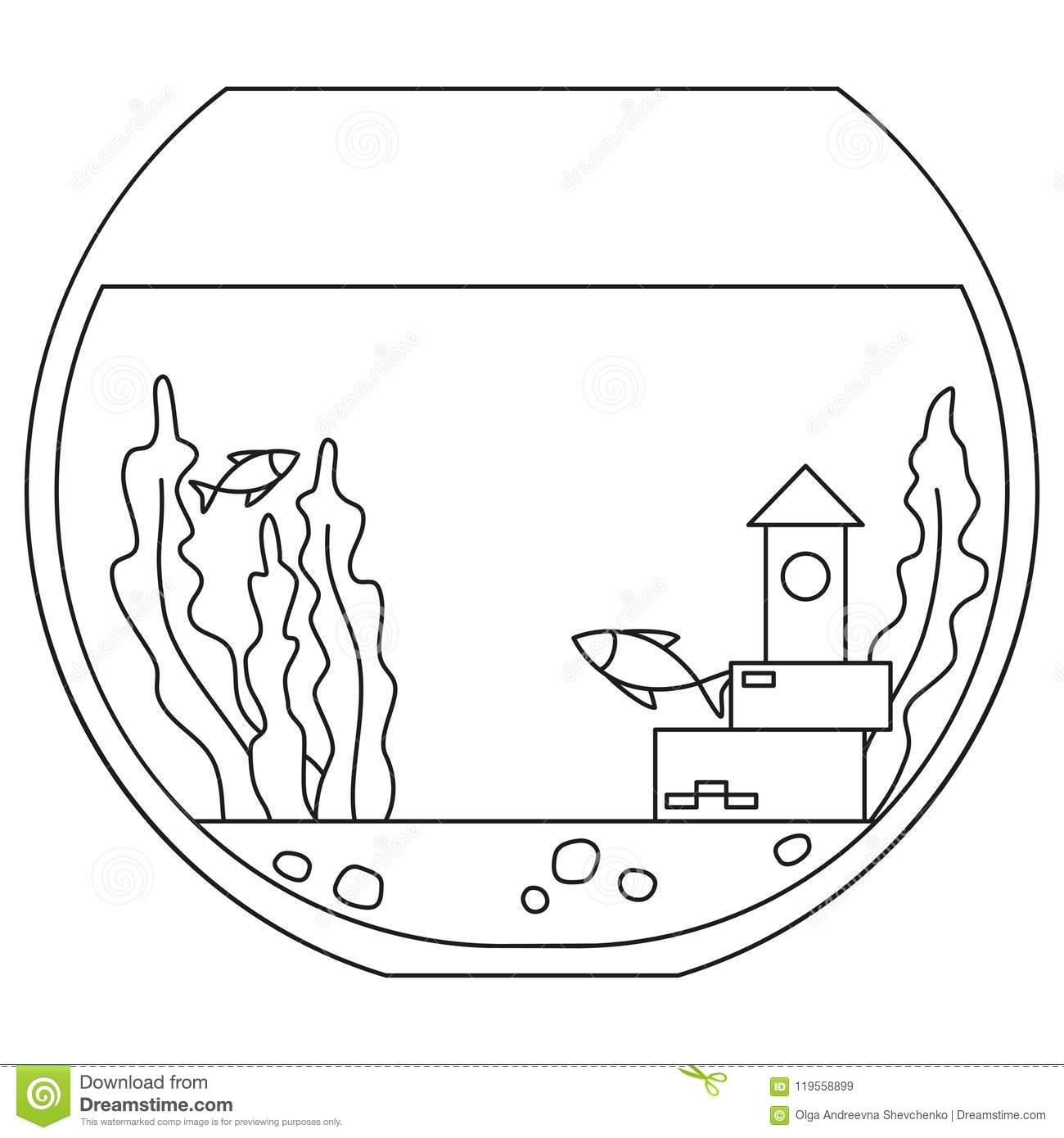 Coloring Template With Fish Stock Illustration
